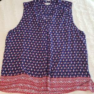 Artisan NY floral button down tank top/ blouse euc